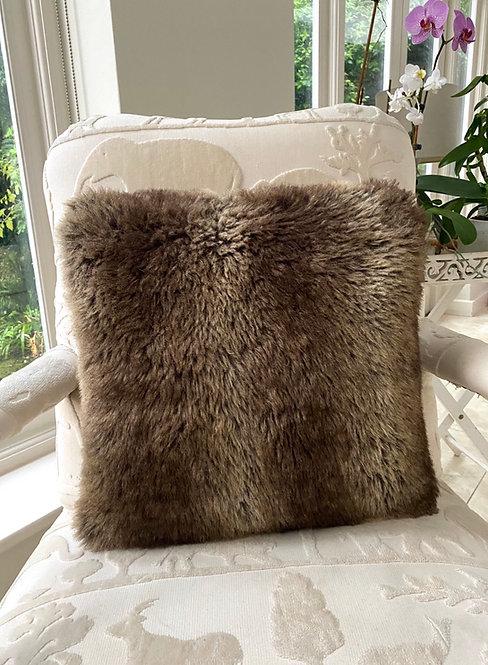 Faux Fur Mocha Cushion Cover