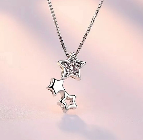 Triple Star Chain & Earring Set -925 Silver