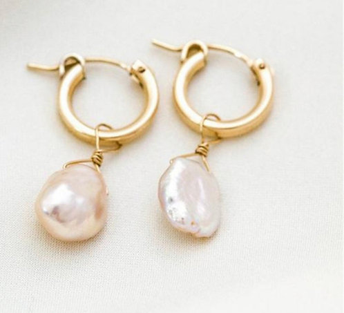 Two Styles - Freshwater Pearl On Hoop Earrings