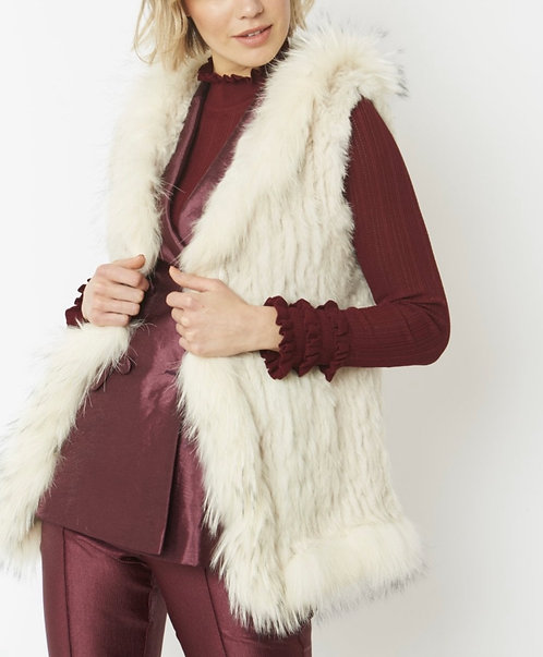 Hooded Coney & Fox Fur Trim Gilet
