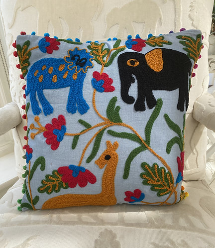 Animal Embroidered Cushion Cover - Blue