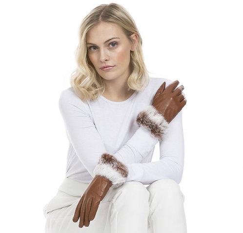 Leather & Coney Fur Cuff Gloves