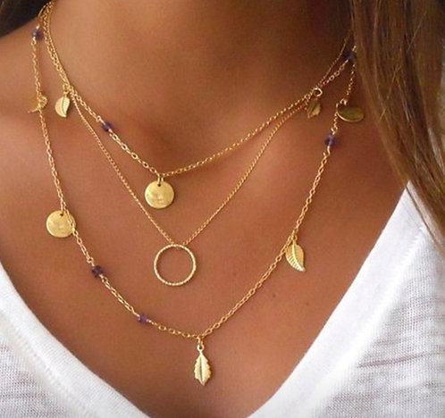 Layer Necklace - 3 Chains In 1