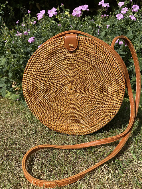 Round Rattan Crossover Bag