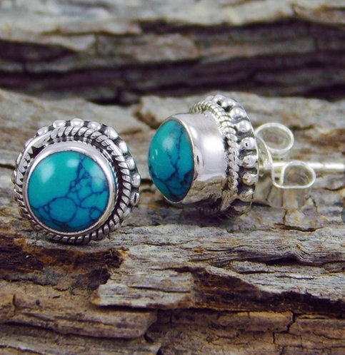 Real Turquoise & Silver Stud Earrings