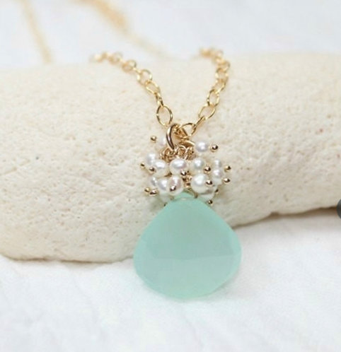 Aqua Chalcedony & Fresh Water Pearl Necklace