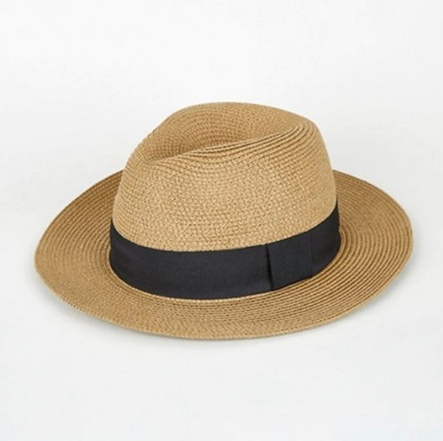 Tan Woven Fedora Hat - Unisex