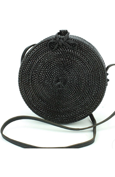Round Bow Crossover Rattan Bag