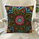 Thumbnail: Turquoise Flower On Black Cotton Cushion Cover