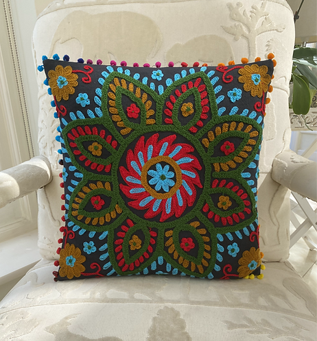 Turquoise Flower On Black Cotton Cushion Cover