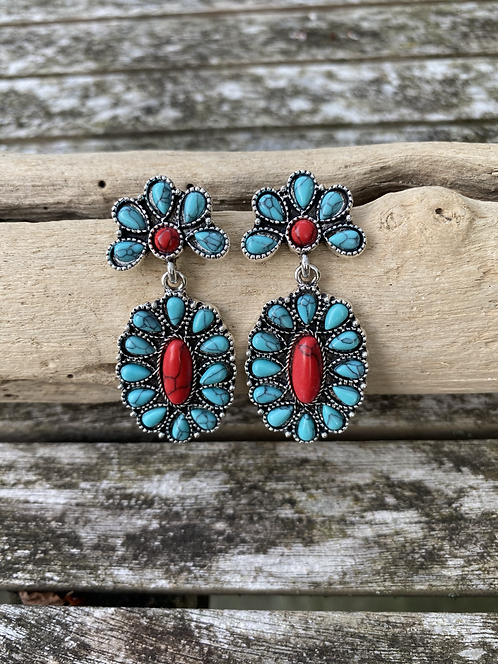 Turquoise & Coral Floral Drop Earrings