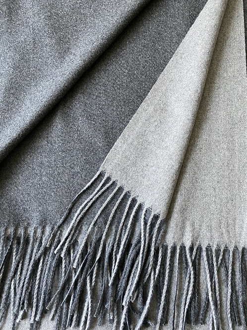 Two-Tone Cashmere Shawl -Grey