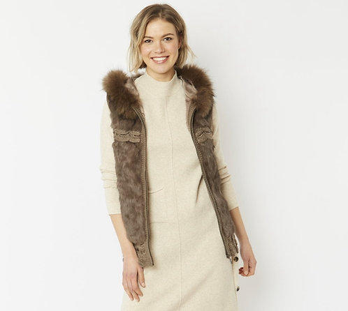 Fox Fur & Coney Hooded Knitted Gilet