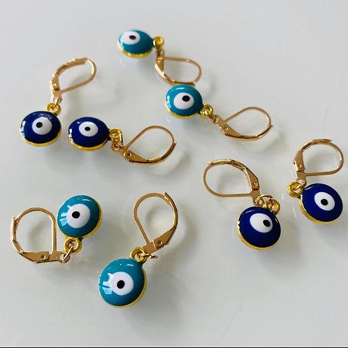 Bead Evil Eye Drop Earrings