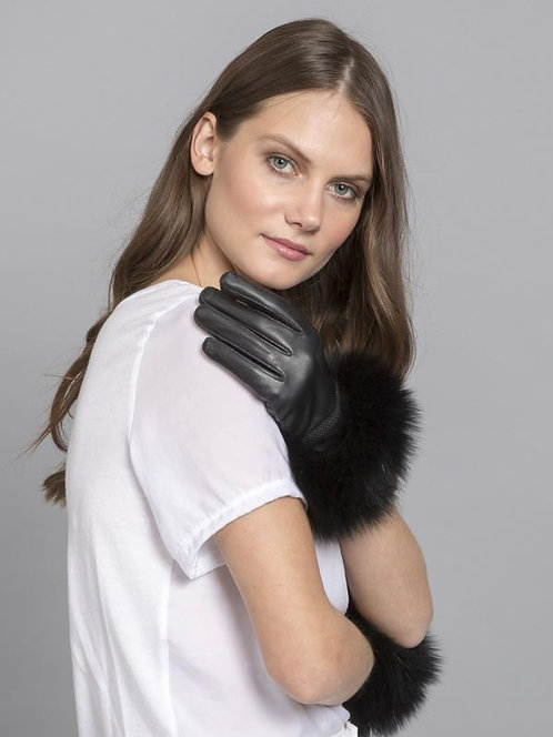 Black Leather & Coney Fur Cuff Gloves