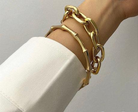 2 Piece Set - Chunky Chain & Bamboo Bracelet