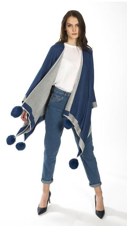 Luxury Reversible Cashmere & Faux Fur  Pom Pom Wrap