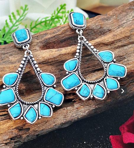 Fan Turquoise Stirling Silver Drop Earrings