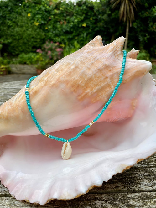 Turquoise Beads With Cowrie Shell Drop