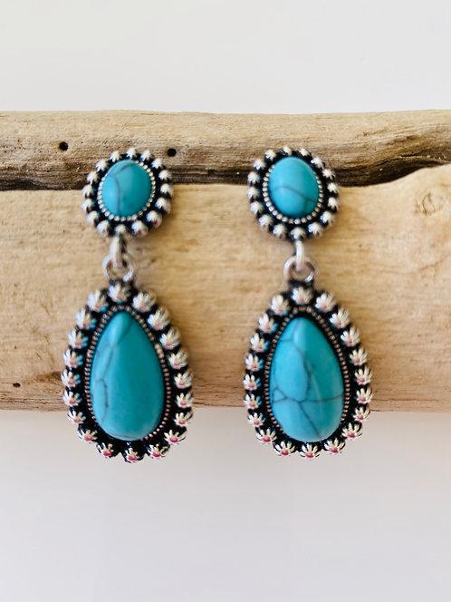 Real Turquoise Drop Earrings