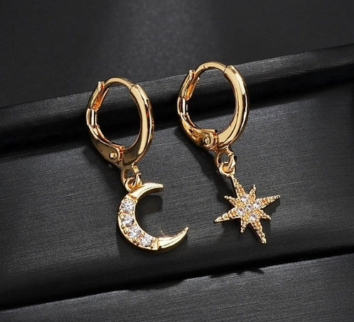 Gold Plated Star & Moon Earrings