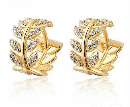 Leaf & Crystal Huggie Earrings