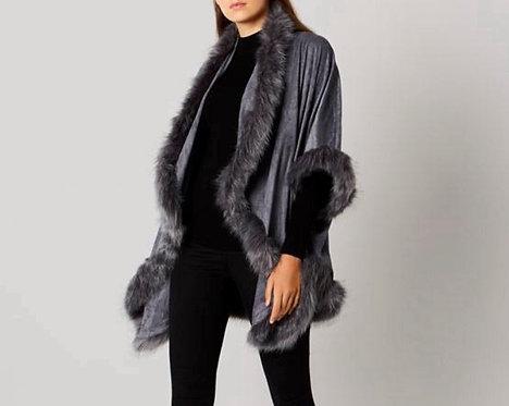 Faux Fur Suedette Swing Jacket