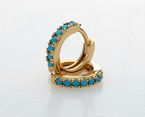Tiny Turquoise Huggie Earrings - Gold Plated