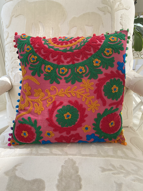 Green & Pink Circular Pattern Cushion