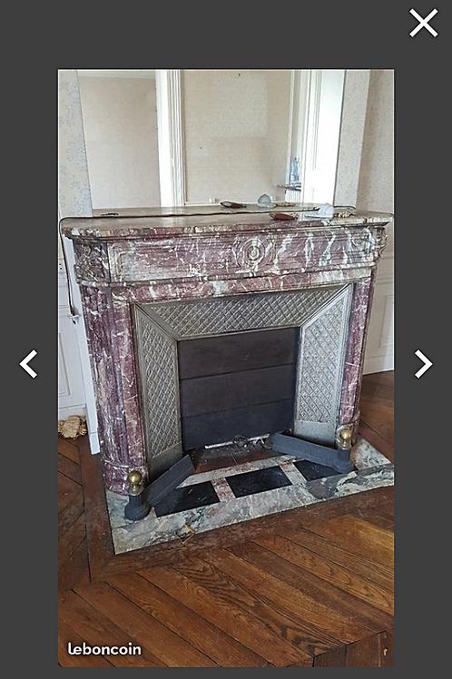 cheminée ancienne de style LOUIS XVI en marbre Fleur de pécher.