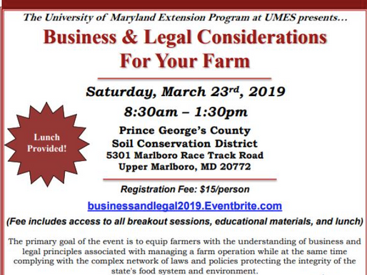 Plan to Attend the Business & Legal Considerations for Your Farm Workshop on March 23rd