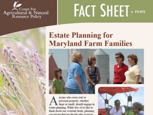 Publication Covering Estate Planning for Maryland Farm Families Has Been Updated