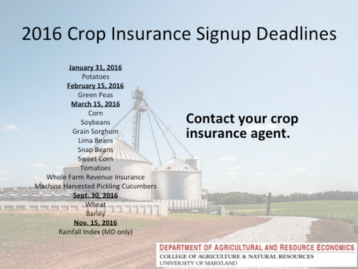 Crop Insurance Signup Deadlines for 2016