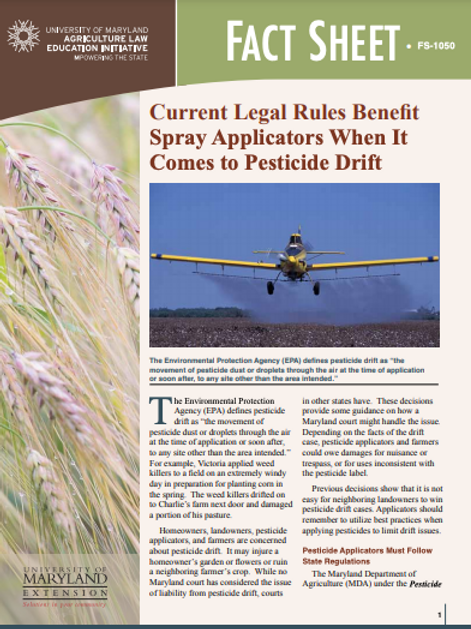 Current Legal Rules Benefit Spray Applicators When It Comes to Pesticide Drift
