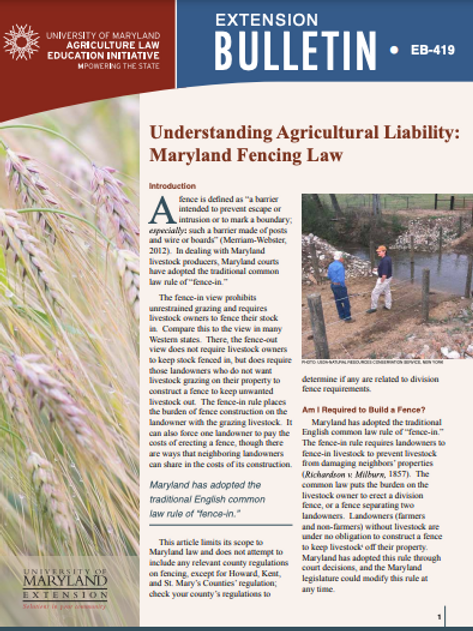Understanding Agricultural Liability: Maryland Fencing Law