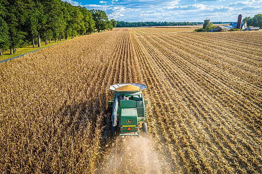 Aerial image of corn harvest.  Image by Edwin Remsberg