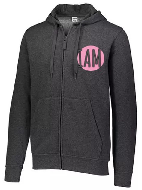 iamCASUAL Collection...Hooded ZIP Sweat Jacket w ROSE Logo (Carbon)