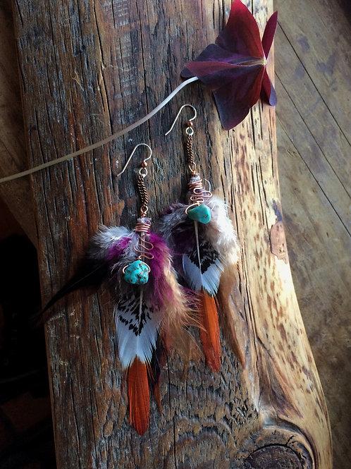 Pheasant Feather Earrings