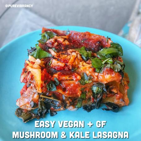 Easy Mushroom & Kale Lasagna (V + GF)