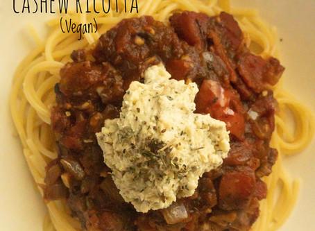 Spaghetti Marinara with Cashew Ricotta (V + GF)