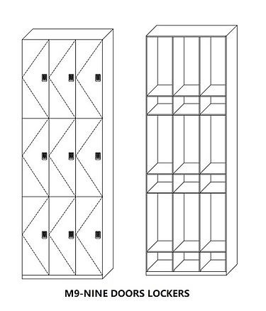 M9 - Nine Doors Lockers,with three tiers and three columns,widely used in fitness and studio and Spa,et.