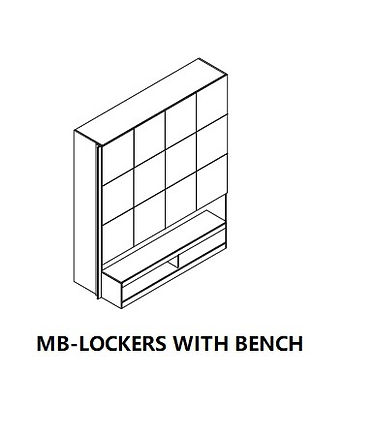 MB - LOCKERS WITH BENCH,three tiers lockers on upper and with the bench on bottom,widely used in fitness and studio
