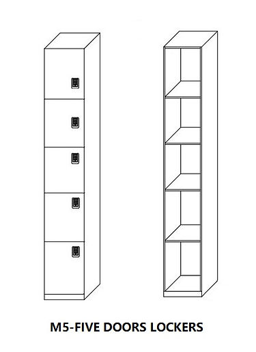 Five doors lockers,single column,good for staff lockers and school lockers
