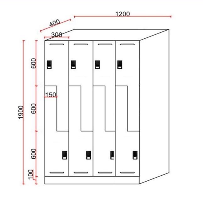Dailot Z Shape Design Gym Lockers
