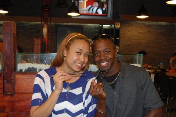 Married couple eating Korean food