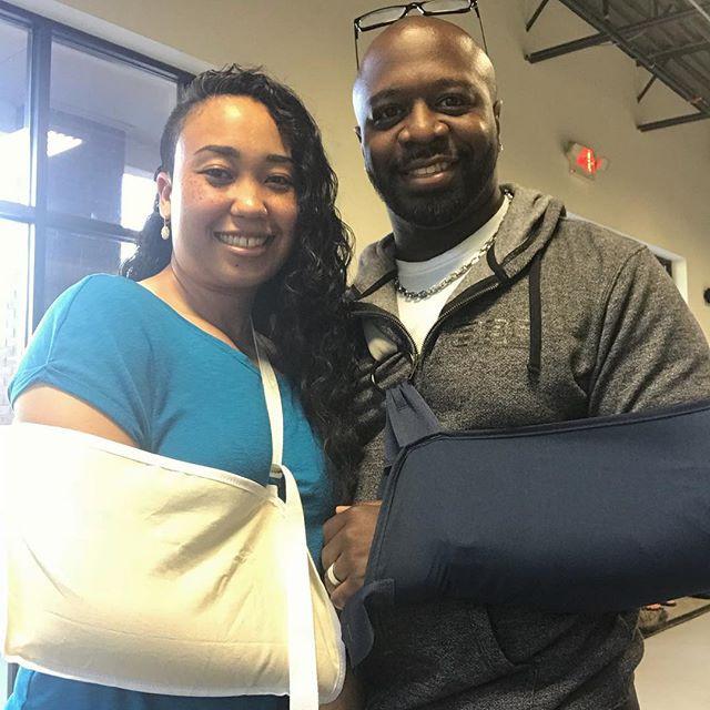 A couple with Jiu-Jitsu injuries