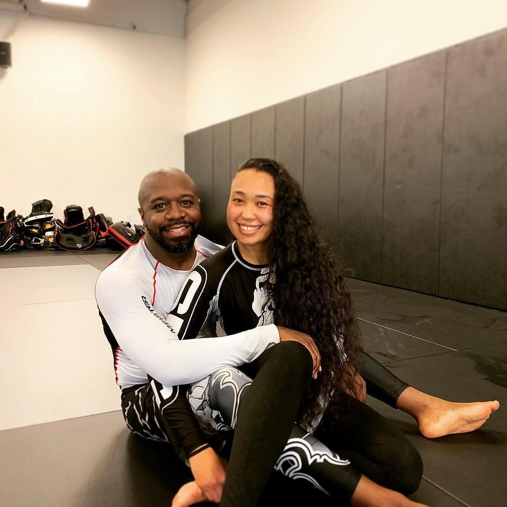 Married couple training no-gi Brazilian jiu-jitsu