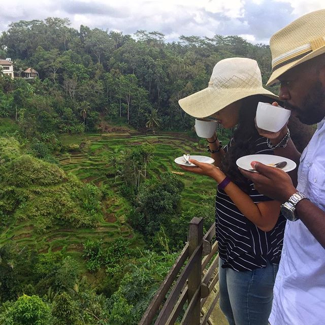 A couple enjoying coffee in the mountains of Bali, Indonesia