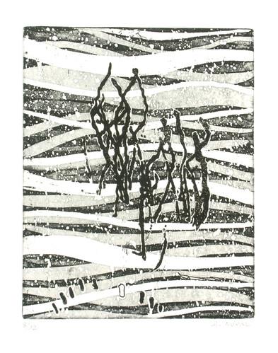 1- Dans l'onde - Eau-forte - 29,5x24 cm.