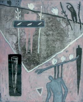 12-Triangle magique-1990-huile sur papie